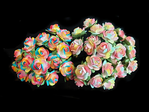 Rainbow Mulberry Paper Roses - 10/12mm (20pcs)