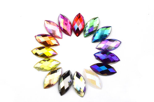 Horse Eye AB Rhinestone 7x15mm (100pcs)