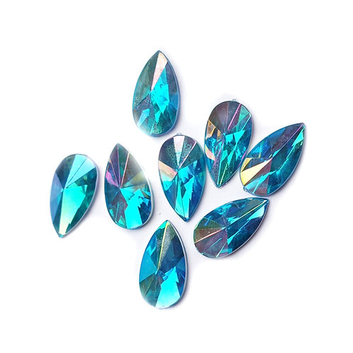 Pointed Blue drops -  8x13mm (100pcs)