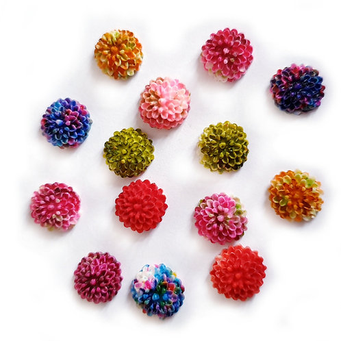 Ombre Floral Dome Round  - 10mm (25pcs)