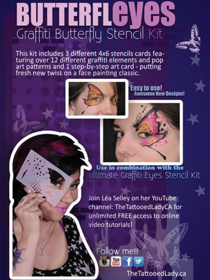 Butterfly Eyes Graffiti Face Painting Stencil Kit