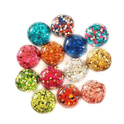 Glitter domes - Mixed 17mm  (20pcs)
