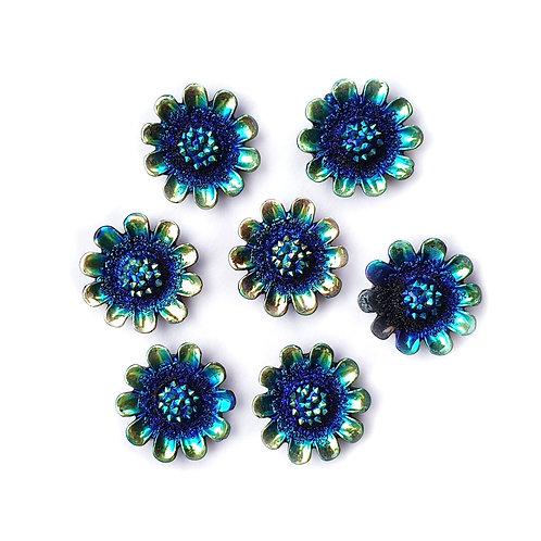 Gold Edge Flowers - Blue 12mm (20pcs)