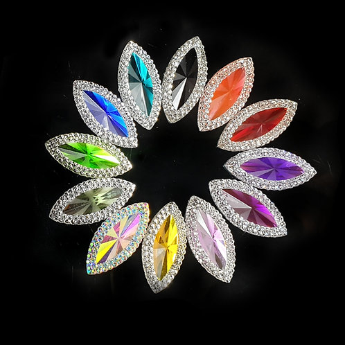 Crystal Horse Eye- 11x24 / 7x15mm (20pcs)