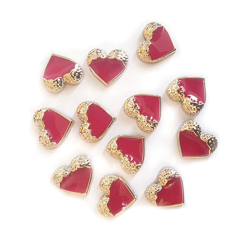 Gold Red Hearts - 12mm  (20pcs)
