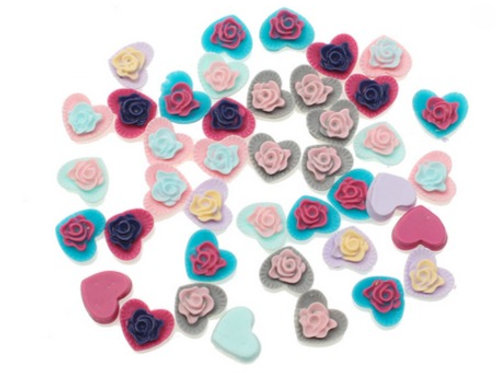 Hearts with Flowers - 13x9mm  (20pcs)