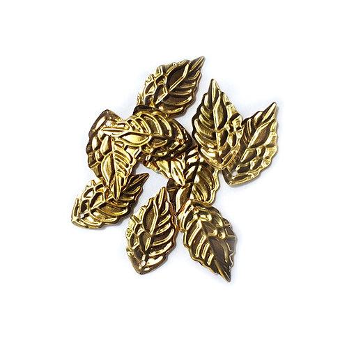 Gold Metal Leaves - 10x18mm (20pcs)