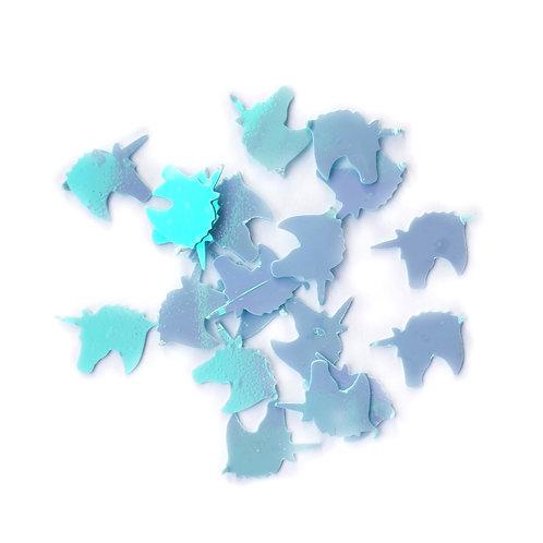Blue Unicorn Head Sequins - 5x8mm (~50pcs)