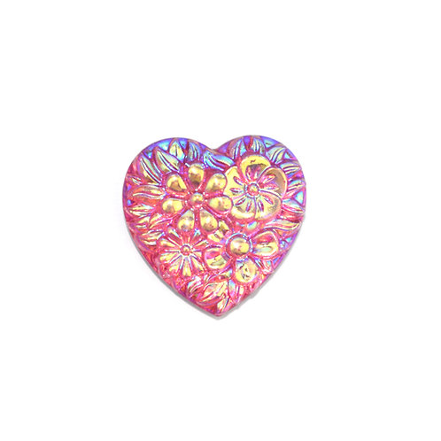 Floral Heart - 18mm Pink/Blue (20pcs)