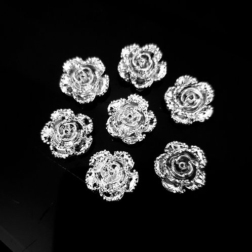 Silver Roses - 14mm (20pcs)