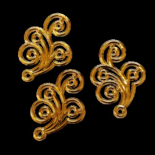 Metal Side Swirls - 20x30mm (20pcs)