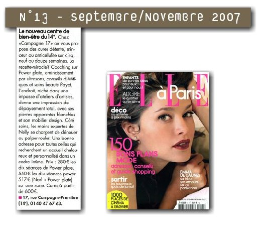 ELLE Rubrique bien-être 2007