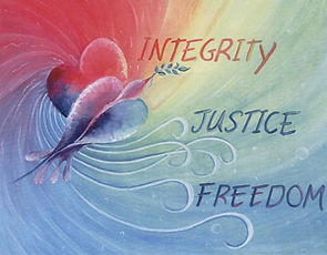 Integrity-Justice-Freedom graphic - bird of peace with 3 words
