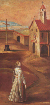 A painting of Mary Ward seeking her vocation