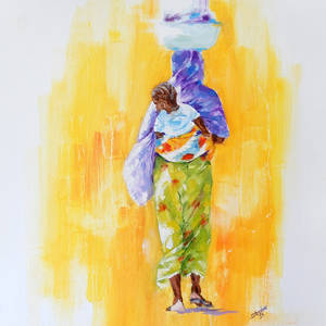 Gambian women with her child