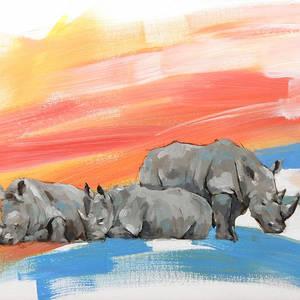 Rhino in oils