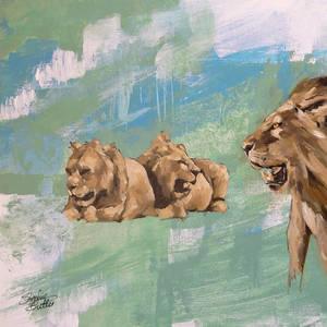 Lions in oil