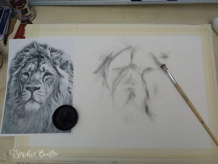 Roughing in shape with charcoal powder a