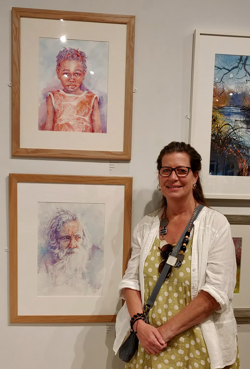 Two of my four paintings at the exhibition.