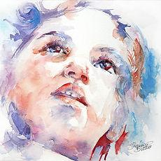 Watercolour portrait of a child