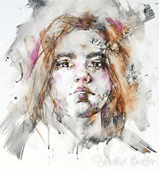 Liquid charcoal and watercolour portrait