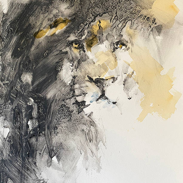 Lion in Liquid Charcoal