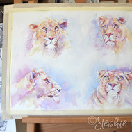 Painted these four lions together to keep colour harmony, now undecided if to seperate them or keep as one painting.