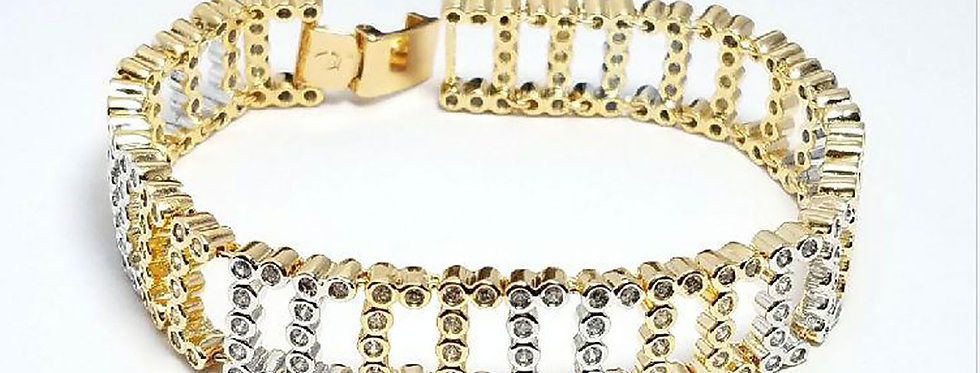 XP Bracelet Gold Zirconia Cubic Diamond Crystals Jewelry