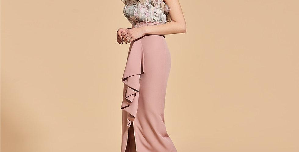 Dressv Print Cocktail Dress Elegant Strapless Tea Length Zipper Up Sheath Split
