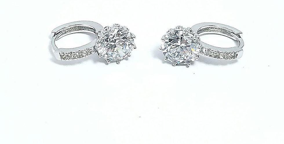 Earrings Diamond Zirconia Cubic Pearl Watch Silver