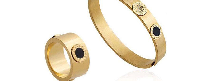 Bulgari Bracelet Ring Zirconia Cubic Diamond Gold