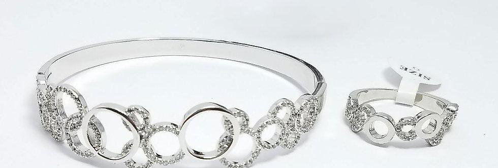 Seduction Bracelet Ring Silver Zirconia Cubic Diamond Crystals Jewelry