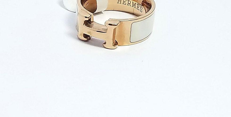 Hermes Ring  Gold Wrist Front View Zirconia Diamond White