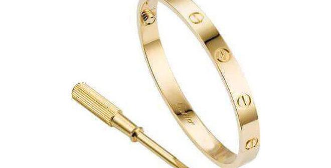 Cartier Titanium Steel Gold Women Girl Bangle Bracelet Wrist Jewelry Accessories