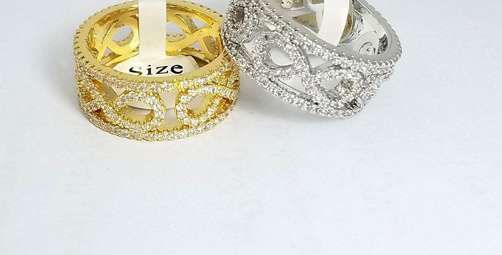 Ring Original Zirconia Cubic Gold Silver Twins