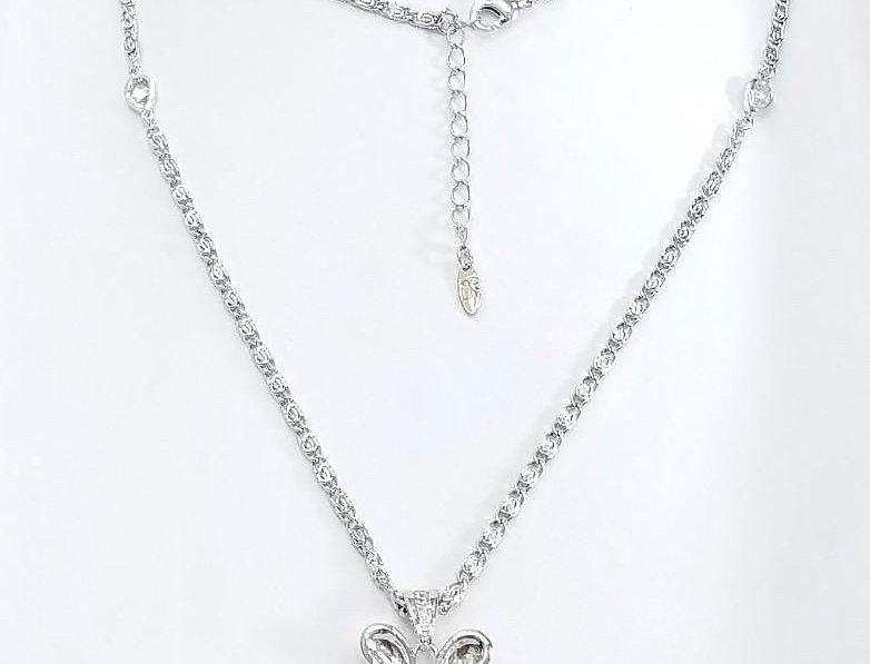 Swarovski Necklace Blue Crystal Diamonds Zirconia Silver