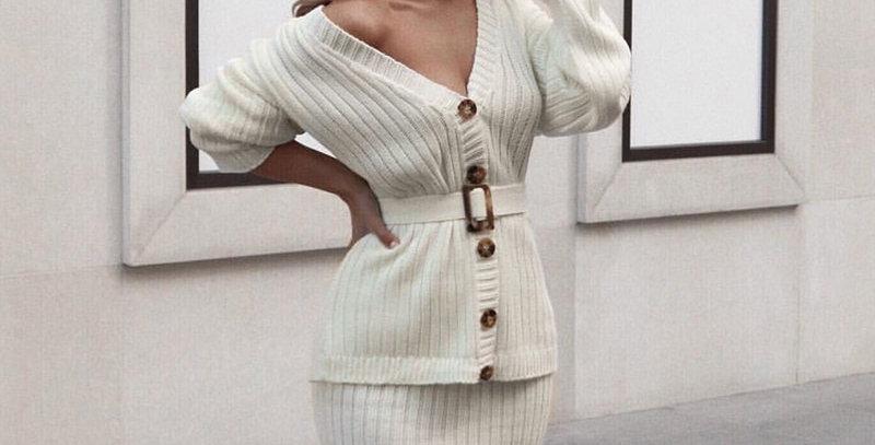BerryGo Two-Piece Women Knitted Dress Set Elegant Autumn Winter Sweater Dress
