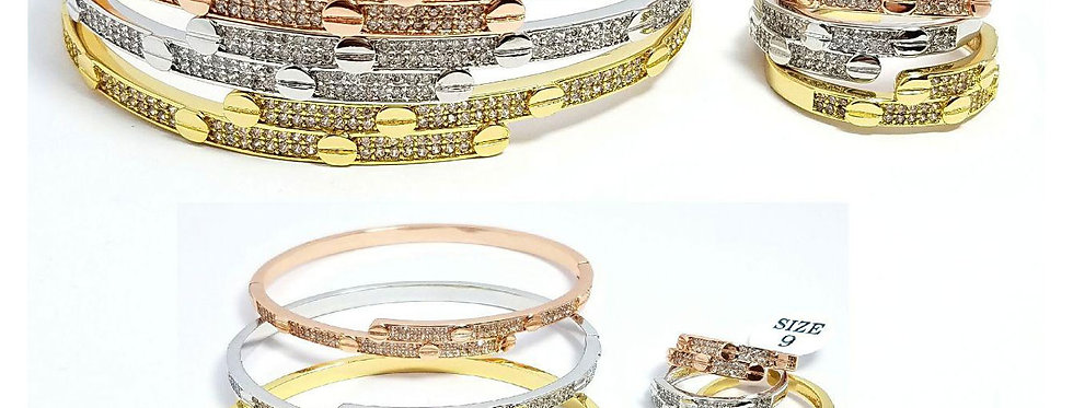 Cartier Bracelet And Ring Set jewelry accessories Silver Gold Diamond