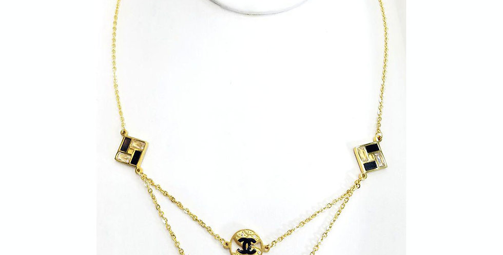 Chanel Necklace Gold Accessories Jewelry Diamonds Crystals Pendant