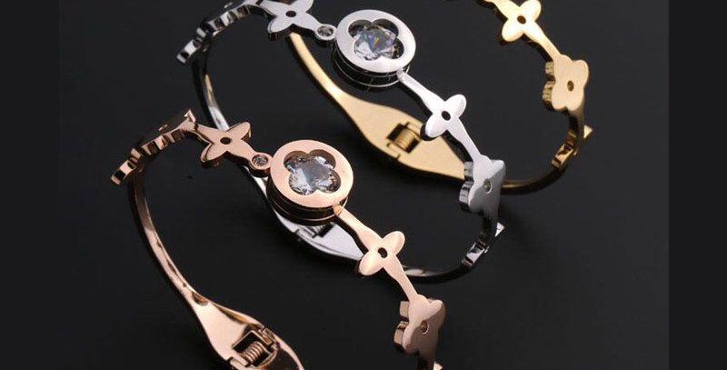 Bvlgari Bracelet Gold Rose Silver Crystals Jewelries Accessories Zirconia
