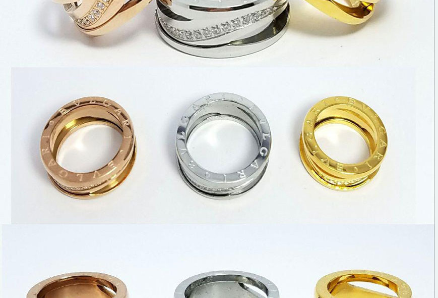 Bulgari Ring Zirconia Crystals Diamond Silver Gold Jewelry