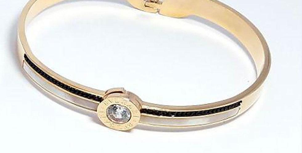 Bulgari Bracelet Rose Gold Wrist Front View Zirconia Diamond
