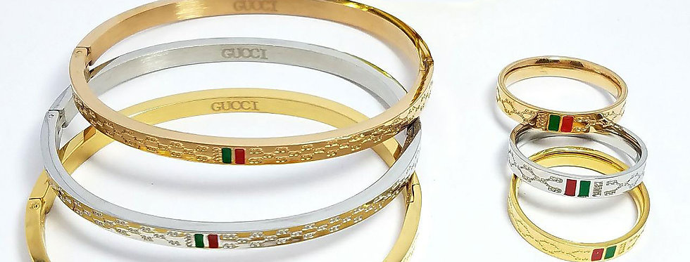 Gucci Bracelet And Ring Set jewelry accessories Silver Gold Diamond