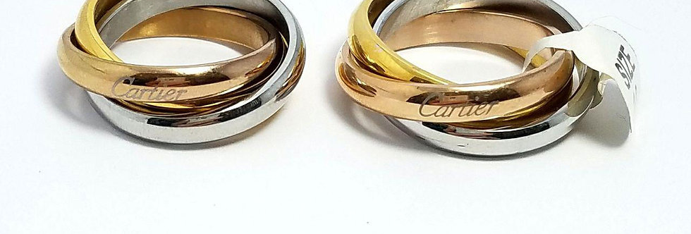 Triple Ring Silver - Gold - Rose Gold - Cartier twins