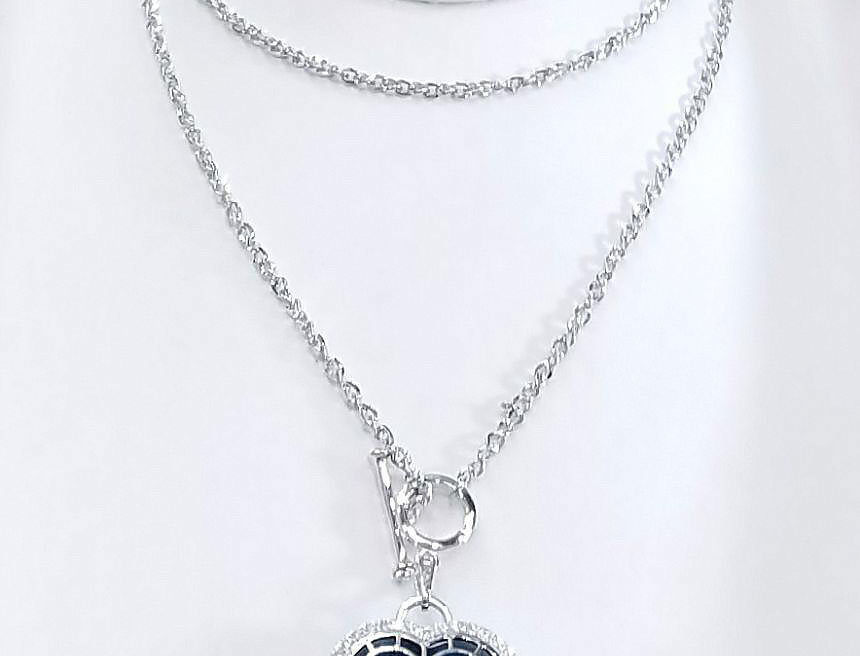 Swarovski Necklace Blue Crystal Diamonds Zirconia Silver