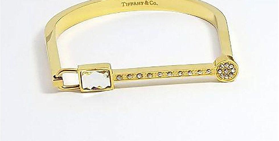 Tiffany & Co Bracelet Gold Wrist Front View Zirconia Diamond Watch