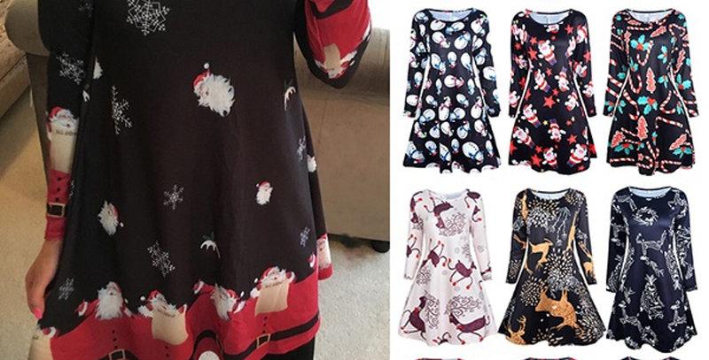 S-5xl Plus Size Christmas Day O Neck Long Sleeve Deer Snow Man Print Dress Women