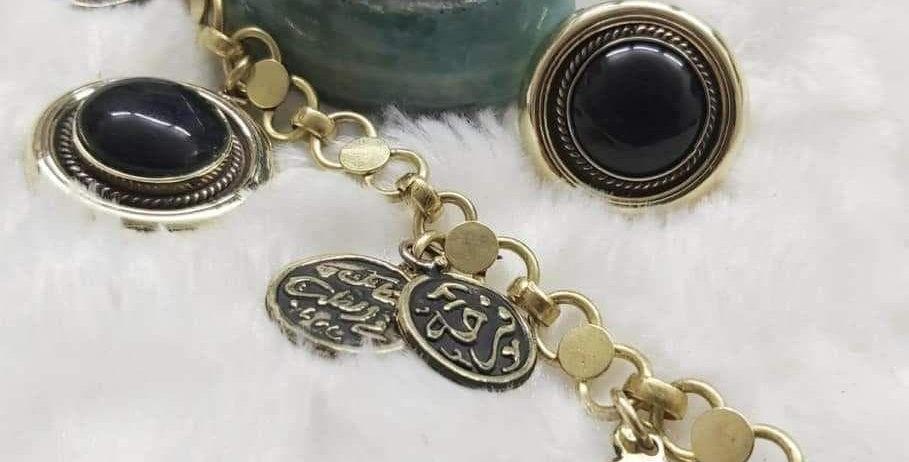 طقم اسورة وخاتم  النحاس مع العقيق واحجار الفروزي