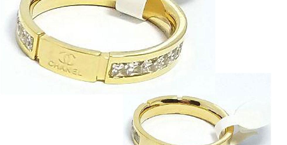 Chanl Ring  titanium Gold Silver Rose jewelry luxury Zirconia Cubic