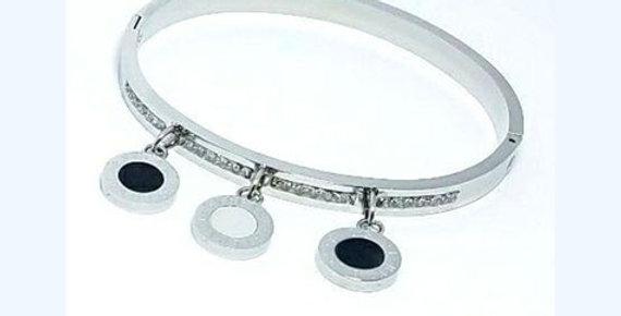 Bulgari Bracelet Double Face Silver Zirconia Cubic Crystal Diamonds